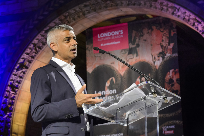 Mayor of London Sadiq Khan speaks at the launch of London's Autumn Season at the Natural History Museum in London, a campaign showcasing the best events taking place over the coming months and cement the capital's reputation as a leading cultural destination. PRESS ASSOCIATION Photo. Picture date: Thursday August 31, 2017. Research compiled by London & Partners found that tourism numbers in the capital are set to rise sharply, with more than 40 million people expected to visit the city by 2025, spending more than £22bn. London's tourism sector employs 700,000 people, equivalent to 1 in 7 jobs in the capital. Photo credit should read: Matt Crossick/PA Wire