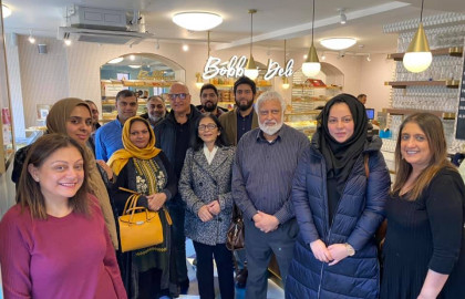 Some of the 60 participants in our new Hindu-Muslim Friendship Meals project at the launch event at Bobby's Restaurant.
