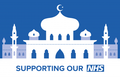 Graphic shows white mosque on blue background and text running along bottom says, 'Supporting Our NHS'.