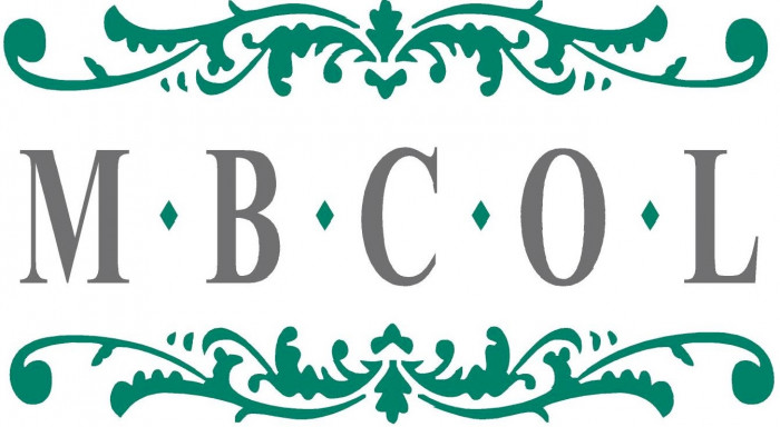 The logo for the Muslim Burial Council Of Leicestershire which displays the grey letters M B C O L with a green stencil pattern above and below.